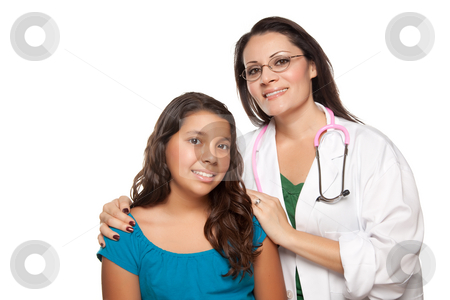 Pretty Hispanic Girl and Female Doctor stock photo, Pretty Hispanic Girl and Female Doctor Isolated on a White Background. by Andy Dean