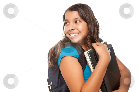 Pretty Hispanic Girl with Books and Backpack stock photo, Pretty Hispanic Girl Looking Back with Books and Backpack Ready for School Isolated on a White Background. by Andy Dean