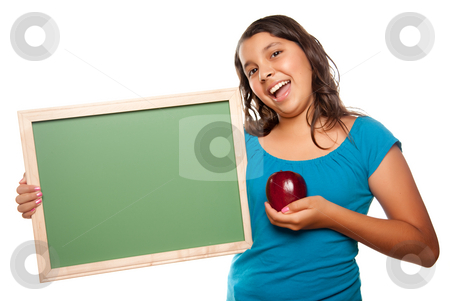 Pretty Hispanic Girl Holding Blank Chalkboard and Apple stock photo, Pretty Hispanic Girl Holding Blank Chalkboard and Apple Isolated on a White Background. by Andy Dean
