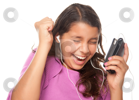 Pretty Hispanic Girl Listening and Dancing to Music stock photo, Pretty Hispanic Girl Listening and Dancing to Music Isolated on a White Background. by Andy Dean