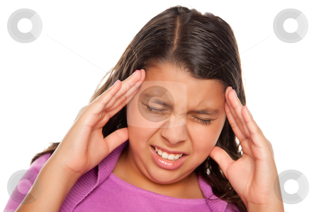 Pretty Hispanic Girl with Headache stock photo, Pretty Hispanic Girl with Headache Isolated on a White Background. by Andy Dean