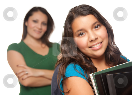 Hispanic Mother and Daughter Ready for School stock photo, Hispanic Mother and Daughter Ready for School Isolated on a White Background. by Andy Dean