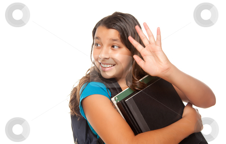 Pretty Hispanic Girl Waving with Books and Backpack stock photo, Pretty Hispanic Girl Waving with Books and Backpack Ready for School Isolated on a White Background. by Andy Dean
