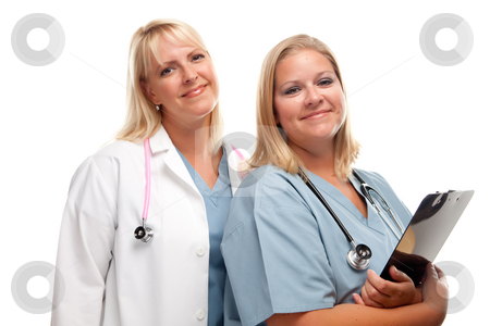 Two Friendly Doctors or Nurses stock photo, Two Friendly Doctors or Nurses Isolated on a White Background. by Andy Dean
