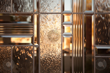 Beautiful Beveled Glass Window stock photo, Beautiful Beveled Glass Window with Warm Reflections. by Andy Dean