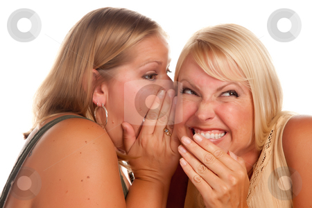 Two Blonde Woman Whispering Secrets stock photo, Two Blonde Woman Whispering Secrets Isolated on a White Background. by Andy Dean