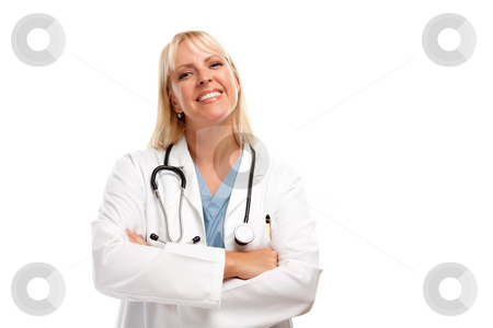 Friendly Female Blonde Doctor stock photo, Friendly Female Blonde Doctor or Nurse Isolated on a White Background. by Andy Dean