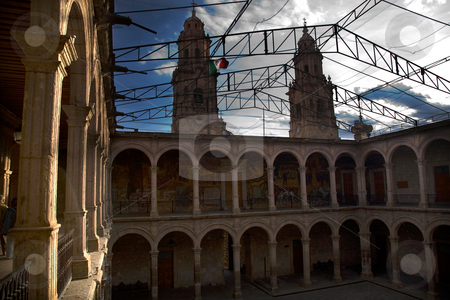 Cathedral Towers Government Palace Morelia Mexico stock photo, Cathedral Towers from Government Palace Morelia Mexico.  Looking at the Cathedral Towers from the balcony of the courtyard in the Government Palace, Morelia Mexico. by William Perry