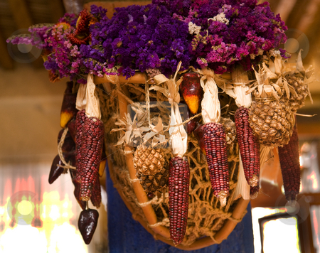Hanging Basket of Purple Corn and Flowers Mexican Decoration stock photo, Purple Corn and Flowers Hanging Basket Decoration in Restaurant Patzcuaro, Mexico by William Perry