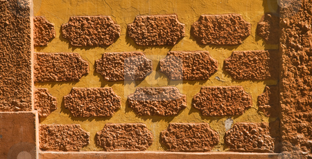 Orange Adobe Wall Patterns Queretaro Mexico stock photo, Orange Adobe Wall Patterns, Queretaro, Mexico by William Perry