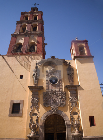 Santo Domingo Church Front Steeple Bells Queretaro Mexico stock photo, Santo Domingo Church, Steeple, Bells, Facade, Front, Entrance, Queretaro, Mexico by William Perry