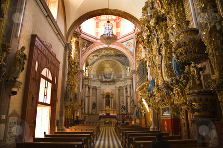 Santa Clara Church Pink Dome Golden Altar Queretaro Mexico stock photo, Santa Clara Church and Convent, Ornate Baroque Interior, Golden Altar, Dome, Queretaro, Mexico by William Perry