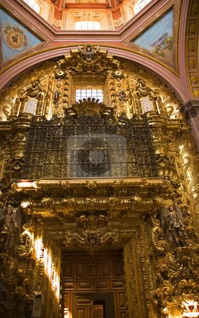 Golden Door Santa Clara Church Convent Queretaro Mexico stock photo, Golden Door Santa Clara Church Templo Convent, Queretaro, Mexico by William Perry