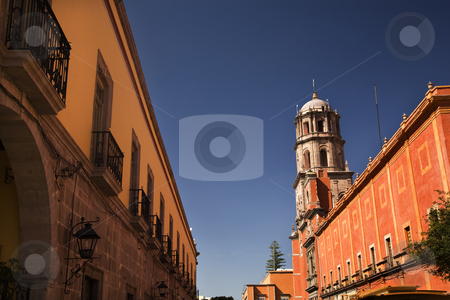 Orange Adobe Wall San Francisco Church Queretaro Mexico stock photo, Yellow Adobe Wall, San Francisco Church, Queretaro, Mexico by William Perry