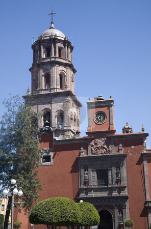 San Francisco Church Queretaro Mexico from Plaza stock photo, Templo de San Francisco, Church, Queretaro, Mexico from Plaza by William Perry