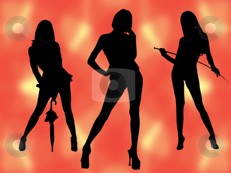 Models stock photo, Three models on orange background by Minka Ruskova-Stefanova