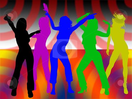Dancing girls stock photo, Dancing girls on colored background by Minka Ruskova-Stefanova