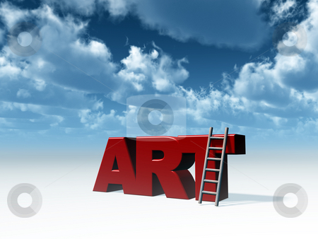 Art stock photo, The word art and a ladder in front of blue sky - 3d illustration by J?