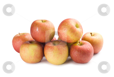 Isolated apple stack stock photo, Apple stack on white background by Lawren