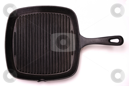 Grill Pan stock photo, A black, cast-iron grill pan. Isolated on white. by Martin Darley