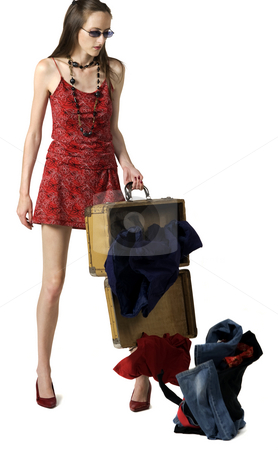 Lose Hold Of Luggage stock photo, Lose hold of luggage, isolated on white by Desislava Draganova