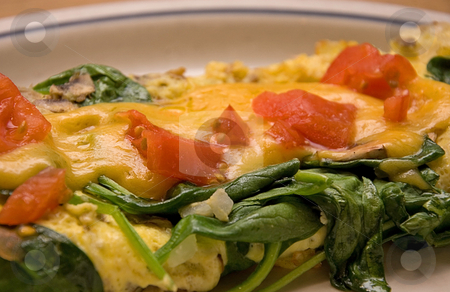 Veggie Omelette  stock photo, This veggie omelette is made with spinach, tomatoes, cheese and a cream sauce poured over this awesome egg breakfast meal. by Valerie Garner