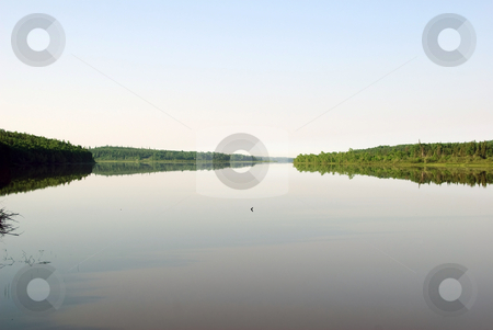 Lake in summer stock photo, A very calm lake on a sunny summer day by Alain Turgeon