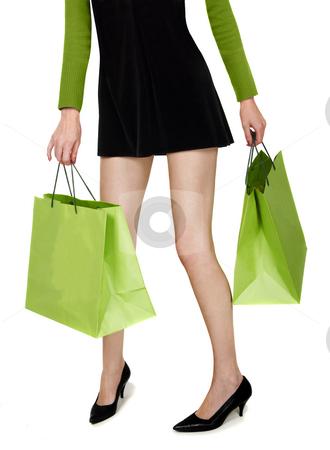 Shopping mania stock photo, Green shopping mania by Desislava Draganova