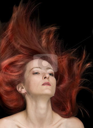 Fly Fire Hair stock photo, Fly fire hair fashion style by Desislava Draganova