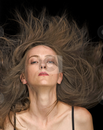 Fly Hair stock photo, Fly hair fashion hair style by Desislava Draganova