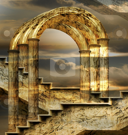 Arches Of Possibility stock photo, Italian imagination collage surrealism collection of surreal by Desislava Draganova