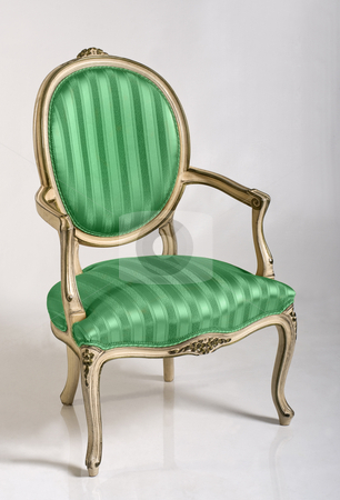 Green Armchair stock photo, Green armchair in baroque style, close up by Desislava Draganova