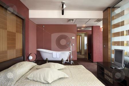 Bedroom With Bathtub stock photo, Bedroom with bathtub modern interior by Desislava Draganova