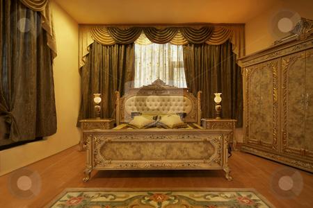 Golden Bedroom stock photo, Golden bedroom in retro style luxury symbol by Desislava Draganova