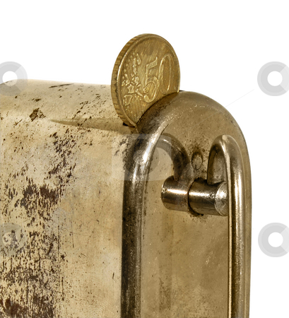 Savings stock photo, Rusty metal money box whit 50 cents by Desislava Draganova