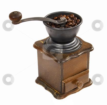 Hand Grinder Coffee stock photo, Wooden hand grinder coffee on white background by Desislava Draganova