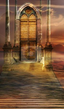 Soaring Gate stock photo, Italian imagination collage surrealism collection of surreal by Desislava Draganova