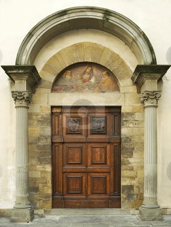Wooden Door stock photo, Wooden door whit marble pillar by Desislava Draganova