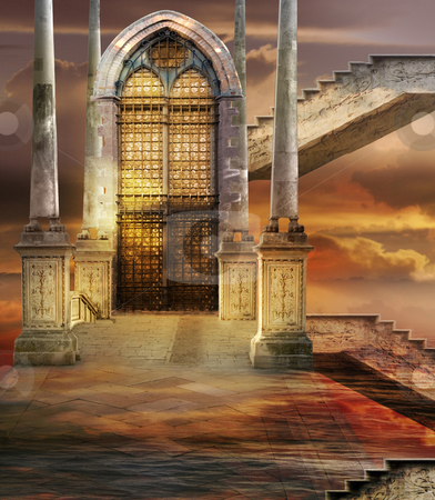 Soaring Gate stock photo, Italian imagination collage surrealism collection of surreal by Desislava Draganova