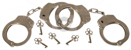 Handcuffs stock photo, Handcuffs with a keys by Desislava Draganova