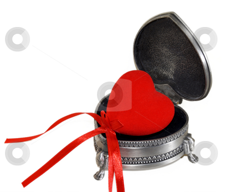 Love stock photo, Red heart in retro metal jewel box by Desislava Draganova