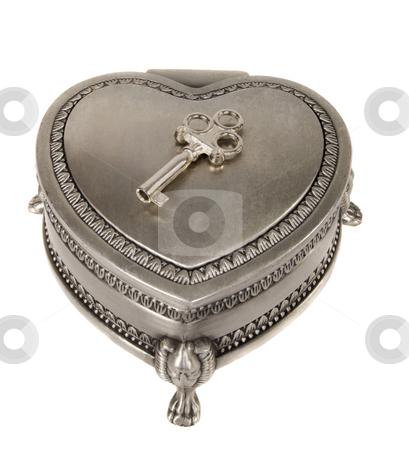 Old Silver Jewelry Box stock photo, Closed retro silver jewelry box whit key by Desislava Draganova