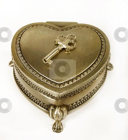 Gold Jewelry Box stock photo, Close gold jewelry box with decorative key by Desislava Draganova