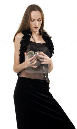 Retro girl stock photo, Retro girl look at jewelry box by Desislava Draganova