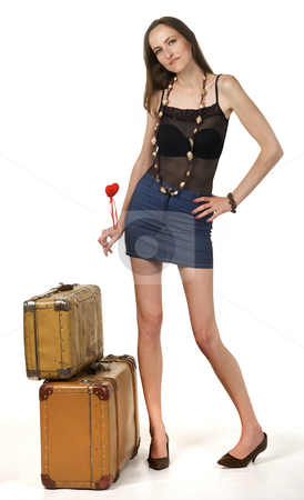 Travel stock photo, Travel girl whit red heart and two portmanteau by Desislava Draganova