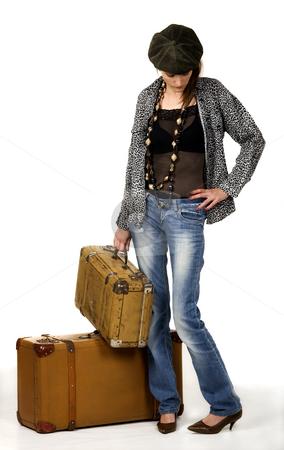 Travel stock photo, Travel girl whit two portmanteau by Desislava Draganova