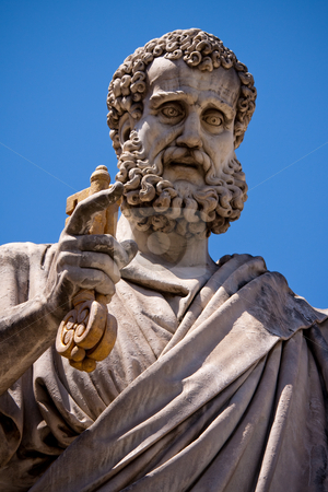 Saint Peter holding the key to heaven stock photo, Saint Peter holding the key to heaven. Statue located in Saint Peter's square  in the Vatican, Italy.y by Wouter Roesems