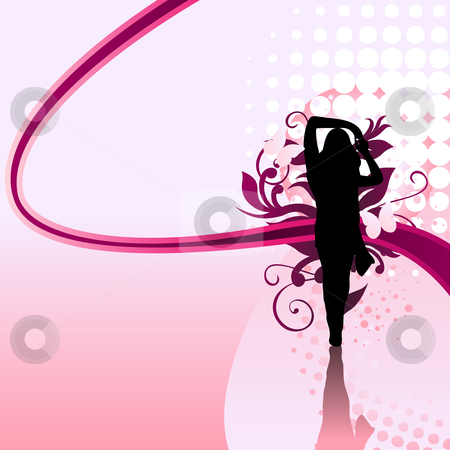 Girl Swirl stock vector clipart, Beautiful girl silhouette with pink swirls and dots by Augusto Cabral Graphiste Rennes