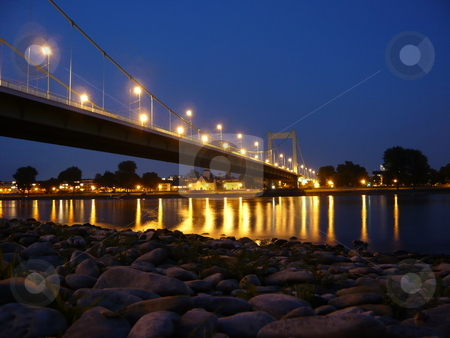 Bridge at night in Cologne stock photo, Muelheimer Bridge by Andre Janssen