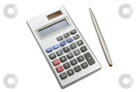 Calculator and pen stock photo, Electronic calculator and pen isolated on a white background with clipping path by Gabriele Mesaglio